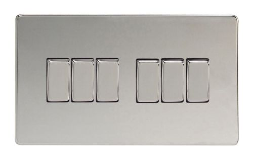 Varilight XDC96S Screwless Polished Chrome 6 Gang 10A 1 or 2 Way Rocker Light Switch